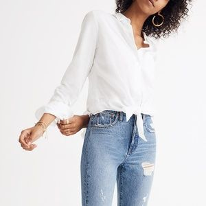 Madewell White Tie-Front Button Down Shirt